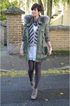 vintage dress - Calzedonia tights - Dixie cardigan - Guess heels