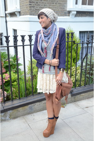 Guess scarf - Guess blazer - Jeffrey Campbell wedges
