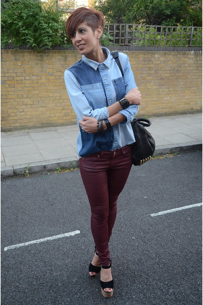 River Island shirt - H&M jeans - Topshop wedges