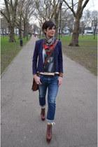 Guess blazer - Guess jeans - alexander mc queen scarf - Jeffrey Campbell heels