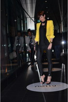 yellow Zara blazer - black Zara pants