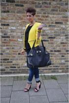 yellow Zara blazer - Diesel jeans - Alexander McQueen bag - black Mango wedges