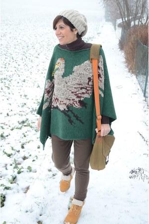 Stefanel pants - Timberland boots - Guess hat - Stefanel cape