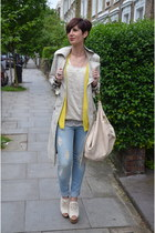 Zara jeans - beige Zara jacket - light yellow Forever 21 top