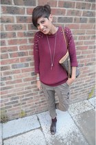 Topshop sweater - Wolf shoes - Louis Vuitton bag - Guess pants