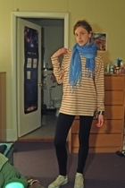 sperry topsider top - leggings - Converse shoes - scarf - liz claiborne top