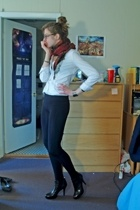 Express blouse - leggings - Jessica Simpson boots - scarf