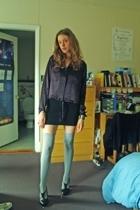 blouse - H&M dress - aa socks - farylrobin shoes - banana republic jacket - scar