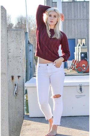 navy Nautica coat - white KUT from the kloth jeans - maroon H&M swimwear