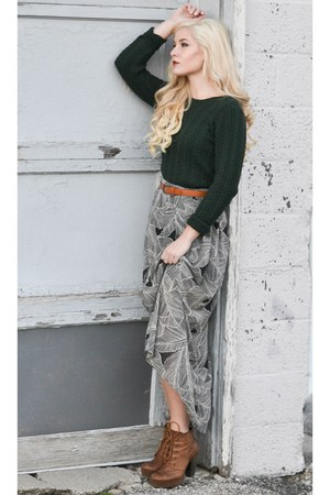 Steve Madden boots - dark green H&M sweater - patterned Forever 21 skirt