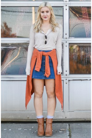 blue Forever 21 skirt - JustFab boots - burnt orange ami clubwear cardigan