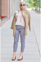 camel Sheinside cardigan - ray-ban sunglasses - light pink H&M top
