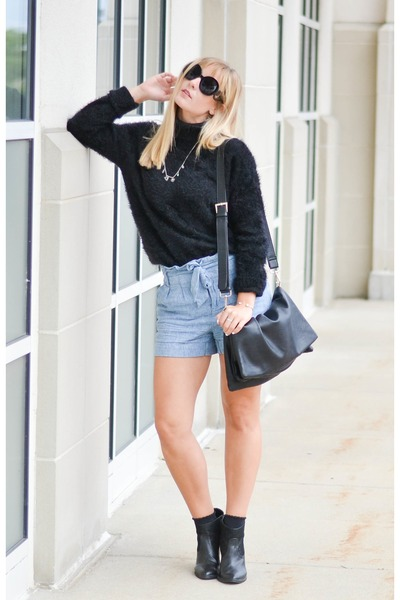black DSW boots - light blue Forever 21 shorts - zeroUV sunglasses