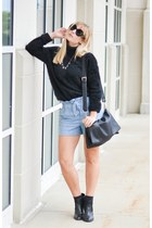 black DSW boots - light blue Forever 21 shorts - zeroUV sunglasses