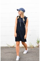 black hooded Forever 21 dress - blue Lids hat - Ray Ban sunglasses