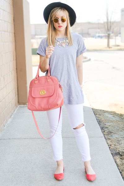 pink Marshalls bag - white distressed KUT from the kloth jeans