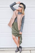 green Forever 21 skirt - Ami Club Wear boots - camel IfChic coat