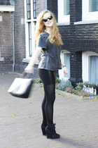 black Furla bag - black Ray Ban sunglasses - gray Monki t-shirt