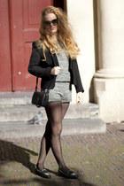 black Zara blazer - black vintage bag - silver H&M Trend shorts