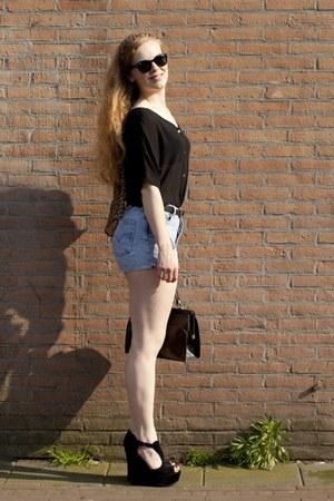 black vintage bag - light brown H&M scarf - sky blue vintage shorts