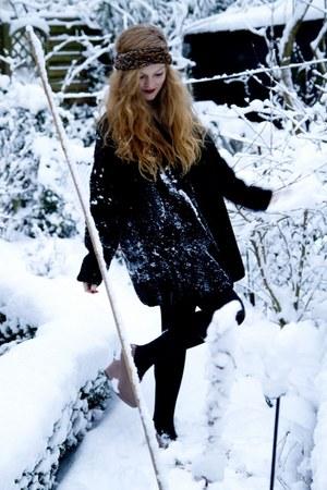 dark brown H&M scarf - black roberto cavalli cardigan - light brown new look sho