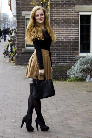 camel Primark skirt - black Primark shirt - black Furla bag
