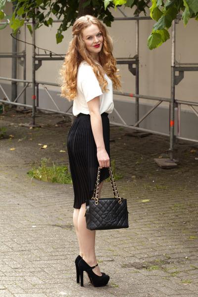 black Zara skirt - black Chanel bag - white H&M Trend blouse