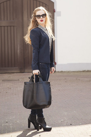navy Vila blazer - black Daniele Dentici boots - navy H&amp;M jeans - black Zara bag