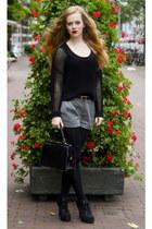 black h&m divided sweater - black vintage bag - heather gray h&m divided shorts