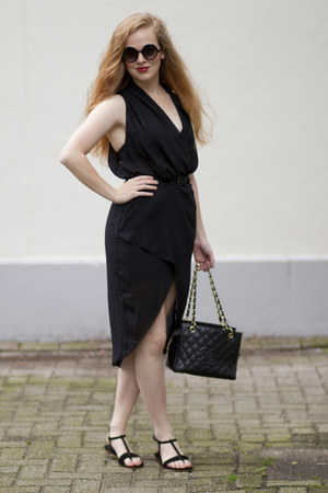 black H&M Trend dress - black Chanel bag - black vintage sunglasses