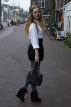 white Mexx blouse - black H&M skirt - heather gray De Bijenkorf Collectie tights