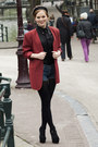 Black-versace-for-h-m-blouse-ruby-red-vintage-blazer-navy-levis-shorts