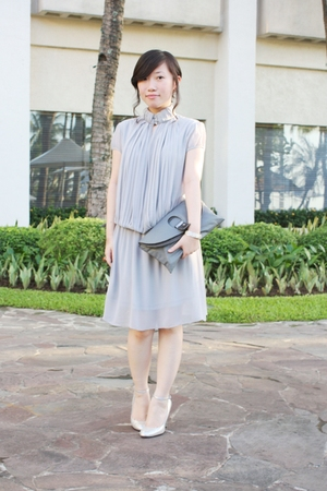 gray Studio S dress - silver Betsey Johnson shoes - gray no brand from hk purse