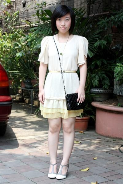 Korean dress - moms vintage belt - Ebay shoes - Dorothy Perkins purse - moms vin