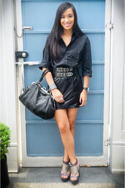 black studded random brand top - black heels michael antonio shoes