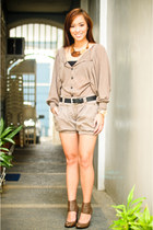 brown heels Zara shoes - brown Zara shorts - black Zara belt - brown Pink Manila