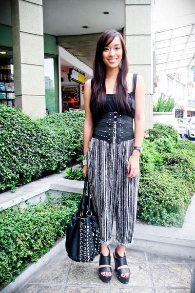 black Zara dress - black random brand pants - black Forever 21 shoes - black PBJ