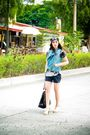 Gray-una-rosa-top-blue-promod-vest-black-zara-shorts-black-manels-accessor