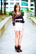brown boots given as a gift shoes - pink paperbag Bayo shorts - black belt - bla