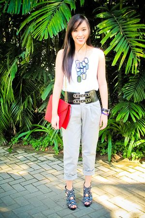 white Topshop top - gray Depaige Manila pants - black random brand belt - red Za