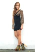 black heels shoes - brown dress