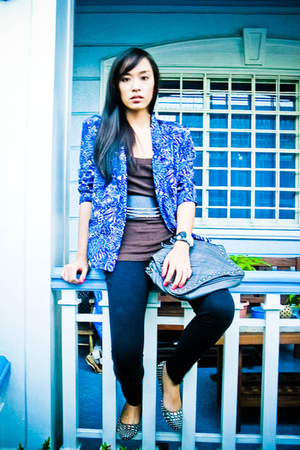 purple blazer - brown Topshop top - black Glitterati belt - black random brand l