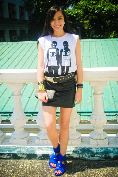 white StreetBeatBoutique top - black Glitterati skirt - blue Zara shoes - black