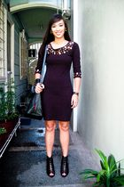 black Express dress - black Forever 21 shoes - black Forever 21 purse - black ac