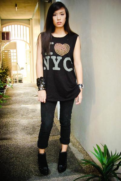 black cotton Topshop top - boots bought online shoes - black Mango jeans