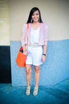 pink blazer - white Topshop top - white random brand shorts - beige bought onlin