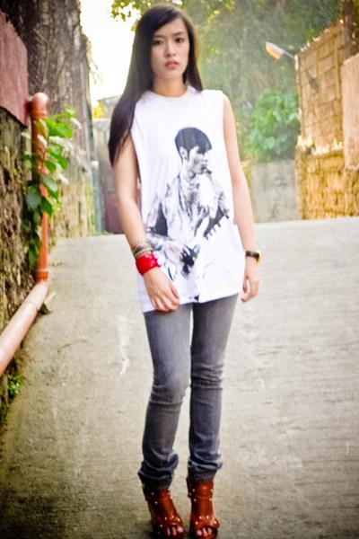 white Topshop top - gray Mango jeans - orange bought online shoes - black cross
