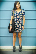 blue Redhead dress - black Zara shoes - black random brand purse - silver Mafia