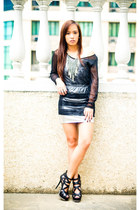 black heels shoes - silver Glittterati skirt - silver tank top Trunk Show top -
