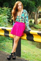 hot pink skirt - black heels DAS shoes - green Forever 21 cardigan